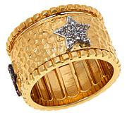 Rarities  Gold-Plated Multi-Gemstone Amulet Spinner Band Ring