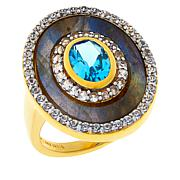 Rarities Gold-Plated Sterling Silver Multigemstone Oval Ring