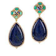 Rarities Goldtone Multi-Gemstone Oval and Pear Drop Earrings