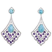 Rarities Larimar, Amethyst & White Zircon Drop Earrings