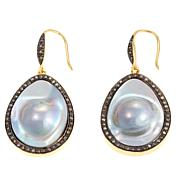 Rarities Mabe Pearl and Diamond Drop Earrings