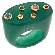 Rarities Multi-Gem Flat-Top Signet-Style Ring