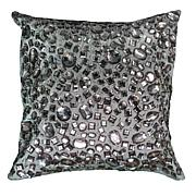 "Rizzy Home 12"" x 12"" Gray Crystal Beaded Accent Pillow"