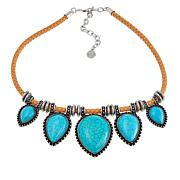 "R.J. Graziano ""Best West"" Simulated Turquoise Woven Leather Necklace"