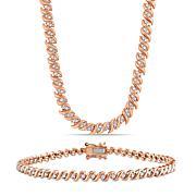 Rose-Tone Sterling 1.50ctw Diamond S-Link Tennis Necklace & Bracelet