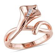 Rosetone Sterling Silver Diamond Calla Lilly Ring