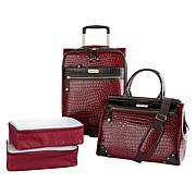 Samantha Brown Croco Embossed Luggage 4-piece Set