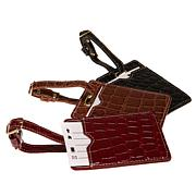 Samantha Brown Croco-Embossed Luggage Tag Set