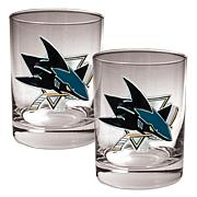 San Jose Sharks 2pc Rocks Glass Set