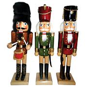 "Santa's Workshop 14"" Natural Wood Nutcrackers Set of 3"