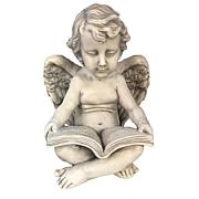 Santa's Workshop Reading Cherub Statue