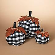 Set of 3 Black-and-White Plaid Pumpkins Harvest Décor w/Leaf Accents