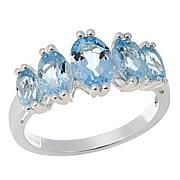 Sevilla Silver™ 2.04ctw Blue Topaz 5-Stone Band Ring
