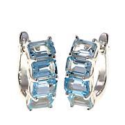 Sevilla Silver™ 5.6ctw Emerald-Cut Blue Topaz Hugger Hoop Earrings