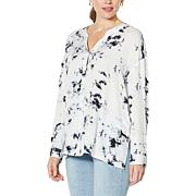 Skinnygirl Jess Collarless Button-Front Top