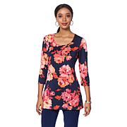 Slinky® Brand 2pk 3/4-Sleeve Print and Solid Long Knit Tunics