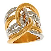 Soave Oro 14K Gold Electroform Two-Tone Textured Knot Ring