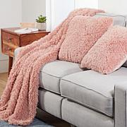South Street Loft 3-piece Poodle Fur Throw & Pillow Set