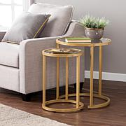 Southern Enterprises Opalyn 2-Piece Nesting Side Table Set - Gold