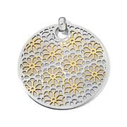 Stately Steel 2-Tone Floral Design Disc Pendant