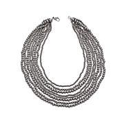 Stately Steel Beaded Tiered Multi-Row Necklace
