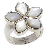 Stately Steel Mother-of-Pearl Flower Ring