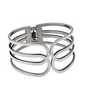 "Stately Steel Open Metalwork Geometric 7"" Cuff Bracelet"