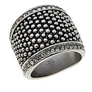 Stately Steel Popcorn-Style Crystal-Accented Band Ring