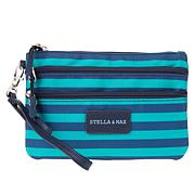 Stella & Max Jewelry Storage Travel Wristlet - Teal/Indigo Stripe