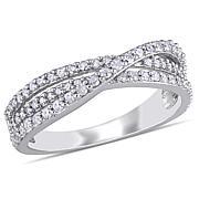 Sterling Silver 0.50ctw Diamond Pavé Crossover Ring