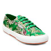 Superga Satin Floral-Embroidered Lace-Up Sneaker