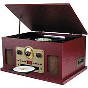 Sylvania Nostalgia 5-in-1 Turntable w/Aux, CD, Radio & Cassette Player