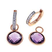 Technibond® Amethyst Diamond-Accented Drop Earrings