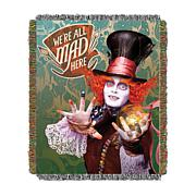 "The Hatter's Mad 48"" x 60"" Fringed Tapestry Throw"