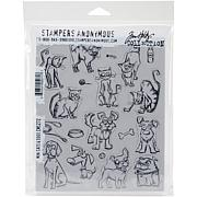 """Tim Holtz Cling Stamps 7"""" x 8.5"""" - Mini Cats and Dogs"""