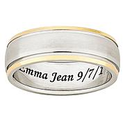 Two-Tone Titanium Engravable Band Ring