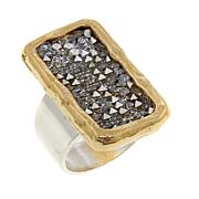 "Waxing Poetic® ""Kristal Verve"" Scattered Crystal Bar 2-Tone Ring"
