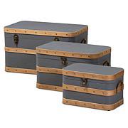 Wholesale Interiors Jonathon Fabric Upholstered 3Pc Storage Trunk Set