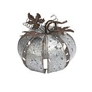 "Winter Lane 11-1/2"" Patterned Cut-Out Silver Metal Pumpkin with Leaves"