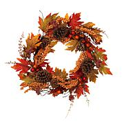 "Winter Lane 22"" Fall Twig Wreath w/Pine Cones, Berries & Maple Leaves"