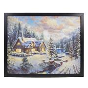 Winter Lane Fiber-Optic Lit Canvas Art w/Remote-High Country Christmas