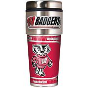 Wisconsin Badgers Travel Tumbler w/ Metallic Graphics and Team Logo