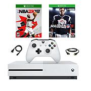 """Xbox One S 500GB 4K Console w/""""Madden NFL '18"""" and """"NBA 2K18"""" Games"""