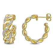 Yellow Gold-Plated Sterling Silver .25ctw Diamond Link Hoop Earrings