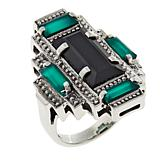"""Nicky Butler Black Onyx and Chalcedony Sterling Silver """"Deco"""" Ring"""