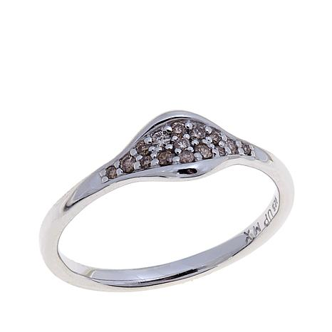0.11ctw Colored Diamond Marquise Kiss Band Ring