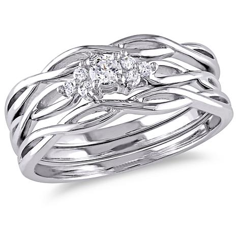 016ctw White Diamond 10K White Gold 3piece Bridal Ring Set