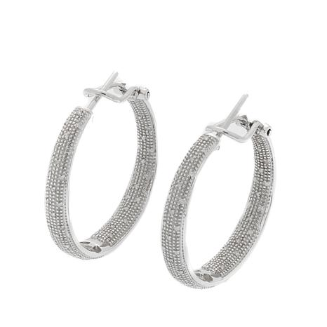 0.25ctw Pavé White Diamond Inside/Outside Hoop Earrings