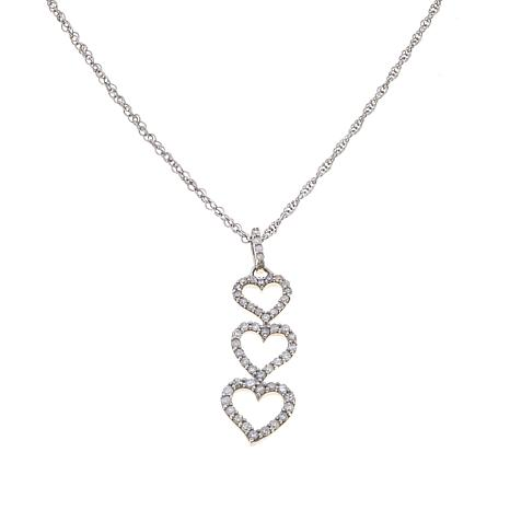 0.25ctw White Diamond 3 Hearts Pendant with Rope Chain