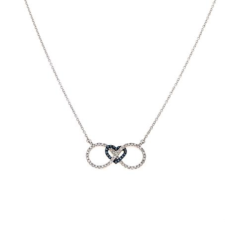 "0.30ctw Blue And White Diamond ""Eternal Love"" Sterling Silver 17 1/2"" Necklace by Colors Of Diamonds"